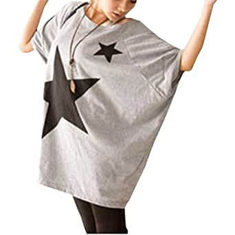 Coffetime-Damen Casual Loose Rundhal Kurzarm T-Shirt