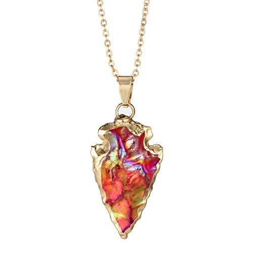 en Gold Halsketten Damen Vintage Vergoldet Unregelmäßige Geometrie Kristall Natürliche Quarz Amulett 3.8 cm ()