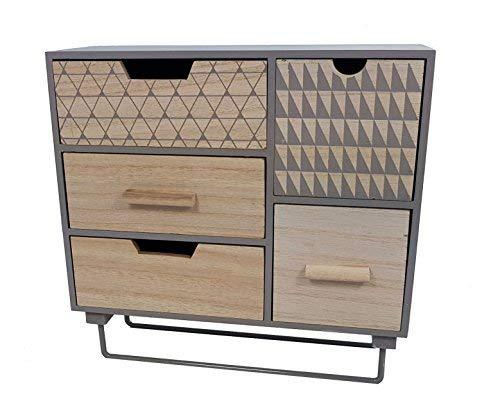 Spetebo Kleiner Holzschrank mit 5 Schubladen und stabilem Metallfuß - Farbe: grau - Schmuck Aufbewahrung Kommode klein -