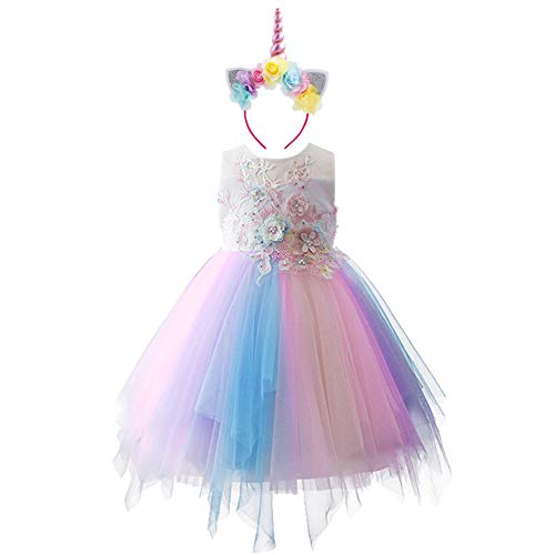 Flight Tracker Special Unicorn Costume For Girls Mask Skirt Birthday Dance Show Dresses Toy Christmas Carnival Party Costumes Novelty & Special Use
