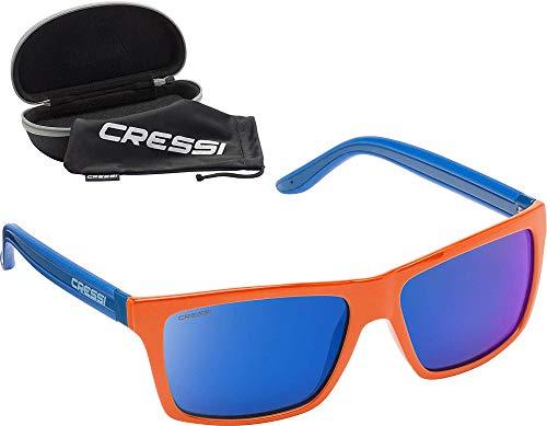 Cressi Rio Sunglasses Sport Sonnenbrille Linsen polarisiert und Antireflexion Sorgen für 100% igen Schutz vor UV-Strahlen, Orange Spiegel Blau, Einheitsgröße