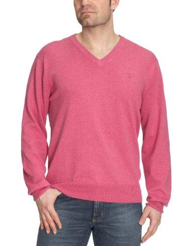 GANT Herren Pullover LT. WEIGHT COTTON V-NECK, Einfarbig Pink (AZALEA MELANGE)