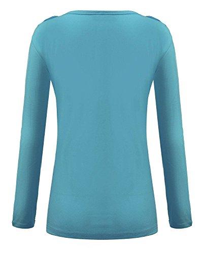 Minetom Damen Herbst Winter Feder Hemden Sexy Schlank Tops Lange Ärmel V-Ausschnitt Bluse Blau