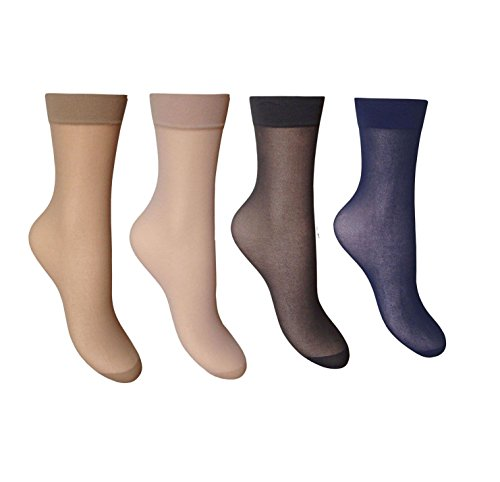 6 Pair Smooth Anklets Ankle Pop Trouser Socks Comfort Top 15 denier size 4-7