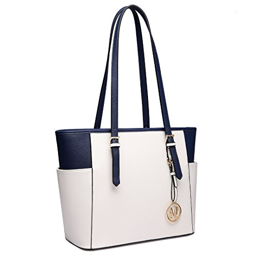 Miss Lulu , Damen Schultertasche 1642-1 Beige and Navy
