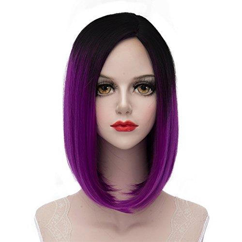 re Perücke schwarz zu lila Party wig + kostenlos Haarnetz (Schwarz Und Lila Perücke)