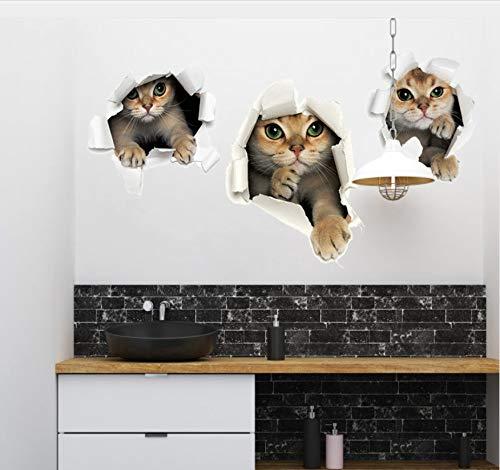 kdjshhs Wandaufkleber Gebrochene Wand Niedlichen Kätzchen Wandaufkleber Bad Toilette Kühlschranktür Kinderzimmer Dekoration DIY Aufkleber Mual Katze Aufkleber 3D - Bad Kätzchen