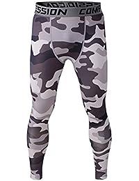 Mallas de compresión COOLOMG Pro Core Combat de longitud completa Leggings pantalones Black Gray Camouflage