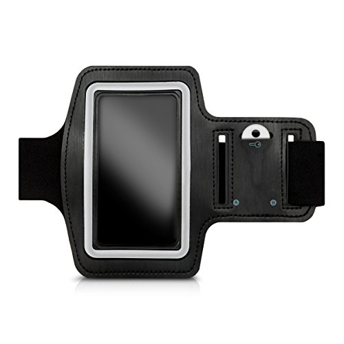 Galleria fotografica kwmobile fascia da braccio sportiva per Smartphones - jogging corsa borsa da sport fascia fitness con scomparto per chiavi nella fascia da braccio in nero - compatibile ad es. con Samsung, Apple, Wiko