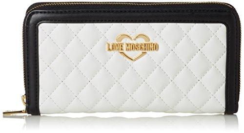 Love Moschino Damen Portaf.Quilted Nappa Pu Bia/Cuo/Ner Clutch, mehrfarbig (White-Tan-Black), 3 x 10 x 20 cm