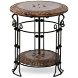 Acme Production Wrought iron & Wood side Stool/Flower Pot Stand((Height: 39 Cm , Length:35 Cm , Width: 35 Cm )