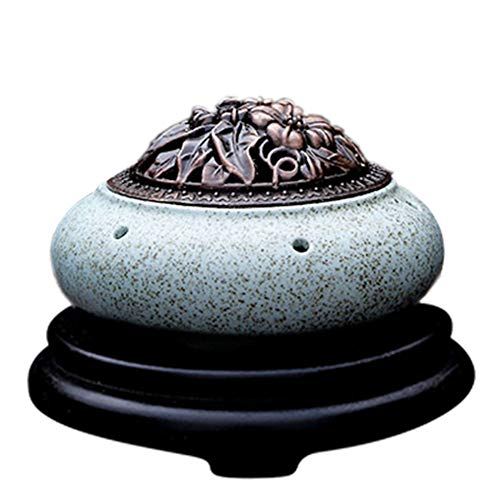 Incense Burner Elektronische Keramik Aromatherapie Ofen Timing Temperaturregelung Weihrauch Brenner Adlerholz Ätherisches Öl Elektrische Diffusor Home Porzellan Copper Cover Blue -