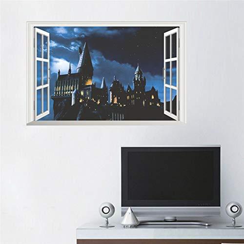 41LQ9P%2BhuaL - 3d ventana castillo etiqueta de la pared decal harry potter pvc tatuajes de pared cartel mural arte decoración para el hogar