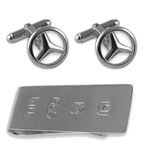 Sterling Silber Mercedes Manschettenknöpfe James Bond Geld Clip Box Set