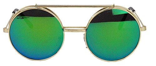 Retro Sonnenbrille oversized Lennon Flip up Style Herren Damen Metallrahmen klappbare Gläser NG (Gold/Grün-Blau verspiegelt)