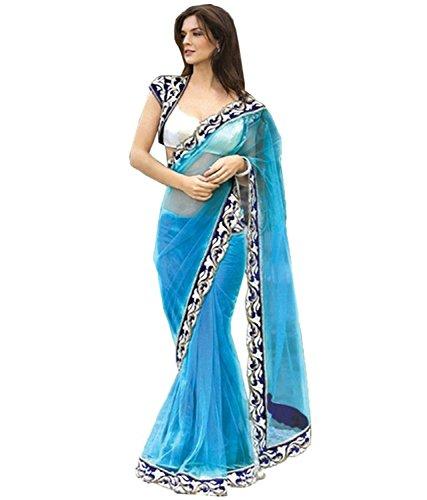SARGAM FASHION Women's Brasso & Net Saree With Blouse Piece (Sb_5000050117_Sky Blue)