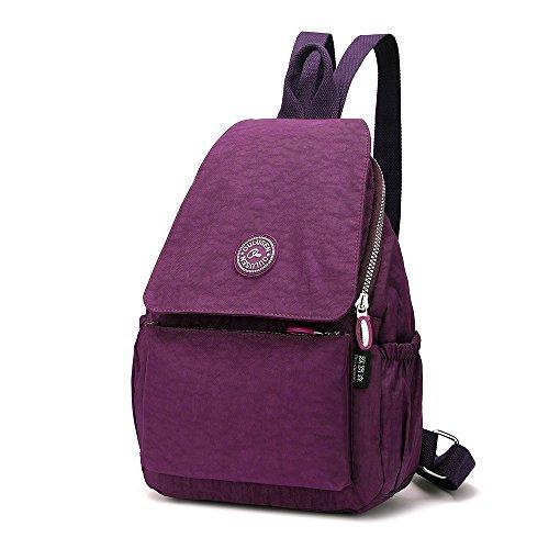 Freizeit Rucksack Handtasche für Damen,OULUSEN Mode Kleine Leicht Nylon Wasserdicht Multi-Taschen im Freien Freizeit Starke Daypack Backpack für Mädchen,Damen * Lila * (Multi-tasche Handtasche Satchel)