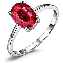 37ed45a7e32cc JewelryPalace Oval de la mujer anillo 1.7ct natural granate rojo piedra del  Solitaire genuino plata