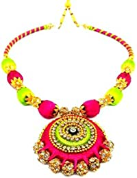 Light Green And Pink Colour Silk Thread Necklace