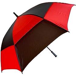 Procella Paraguas de Golf Grande, Antiviento, Amplio (157 cm), Deportivo, Unisex, Automático, Impermeable, Ligero (Rojo/Negro, 157cm)