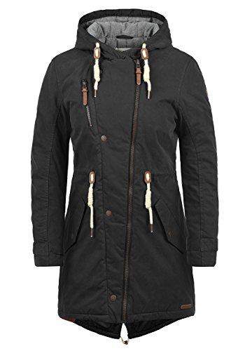 DESIRES Lew Damen Wintermantel Parka Mantel Mit Kapuze Und Fütterung, Größe:M, Farbe:Black (9000)