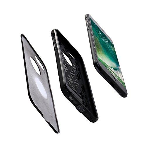 iPhone 7 / 8 Schutzhülle, Liamoo® stoßfeste Hülle / Bumper / Case / Cover - Hoher Schutz vor Staub / Kratzer / Stößen / Stürzen / Fallschutz und farblicher & auswechselbarer Rückseite inklusive Logoau Schwarz