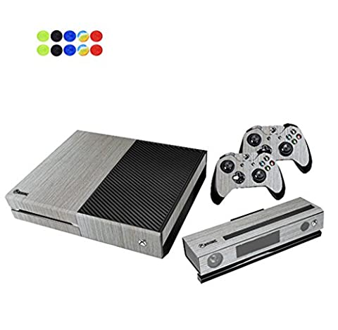 Skin for XBOX ONE - Morbuy Vinyl peau Protective Autocollant Decal Sticker pour Microsoft XBOX ONE console + 2 Autocollant Manette et 1 autocollant Kinect Set + 10pc SiliconeThumb Grips (Bois Gris)