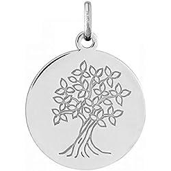 FLEURIE - Médaille Arbre de Vie - Or 18 carat - Hauteur: 18 mm - www.diamants-perles.com