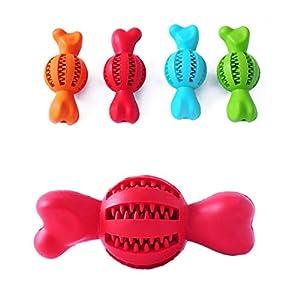 POPETPOP Balle de Nettoyage à mâcher pour Dents d'animal Domestique Brosse à Dents Fuite de Nourriture Dents Bâton de Nettoyage Outil d'entraînement pour Animaux de Compagnie Petite Taille (Rouge)
