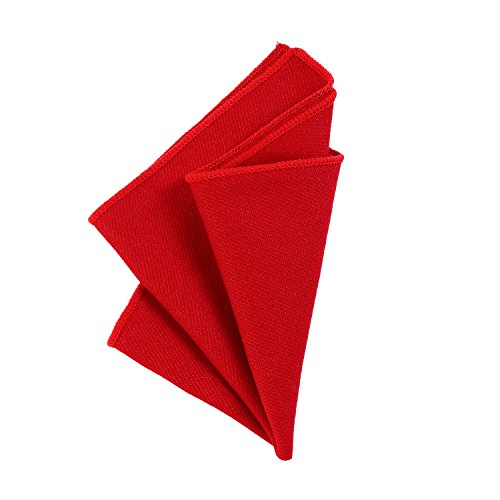 DonDon Herren Einstecktuch Taschentuch 23 x 23 cm zum selber falten aus Baumwolle Tweed Style einfarbig rot (Baumwolle Anzug Falten)