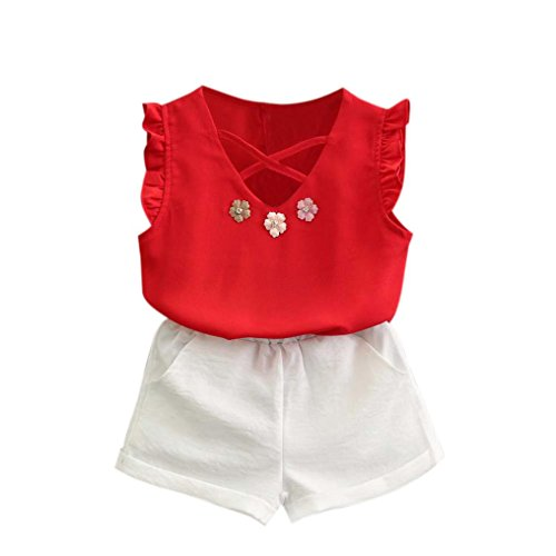 Internet for 1-7 Years Old Girls Clothes Set, Baby Girls Outfits Clothes T-Shirt Vest Tops+Shorts Pants (3-4 Years, Red)