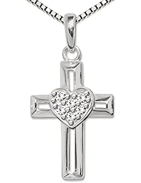 CLEVER SCHMUCK Silberner Anhänger Kreuz mit Herz mittig erhaben, viele weiße Zirkonias, Balken offene Form und...