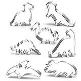 Anokay Dinosaurier Motiv Ausstechformen Set Ausstecher aus Edelstahl für Kinder - 7 Stück - Dino Keksausstecher Ausstecher Plätzchen Dinosaurier