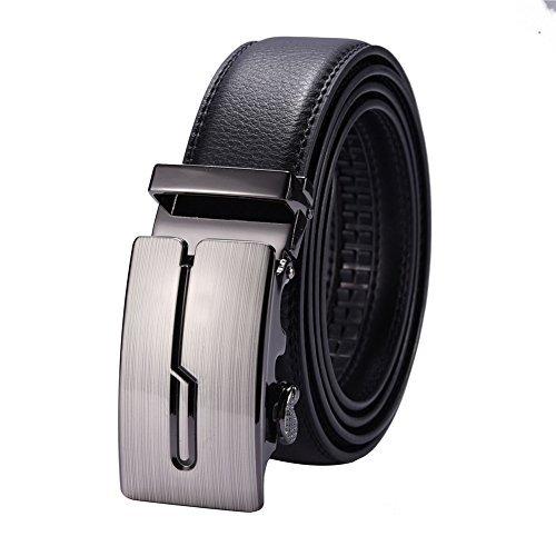 Einfache Casual Herren Schwarz AUTOMATIK Leder Schnalle Taille Gürtel 132cm