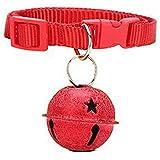 Cdet Collar de perro pet campanas colgante colgantes ornamentos colorido fregar cuello cachorros perritos campanas perro Rojo