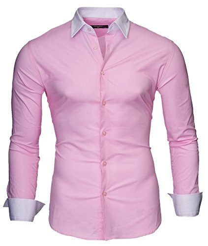 KAYHAN Homme Chemise Slim Fit Repassage facile, Manches Longues Modell - Milano pink