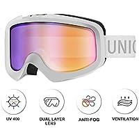 Unigear Gafas de Esquí OTG Esquiar Protección UV 400 Snowboard Multi-Colores Lentes Doble Revo Anti-Niebla Anti-Reflejo de Nieve para Adulto, Hombre, Mujer, Niño, Niña