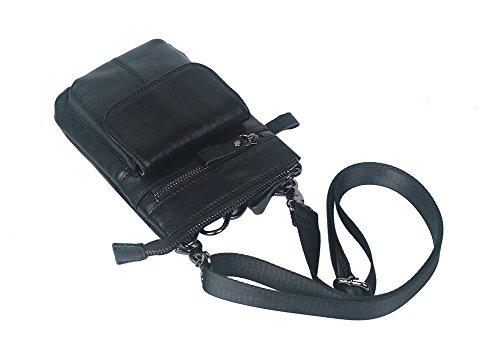 Genda 2Archer Echtes Leder-Multifunktionsaußen Kleine Gadget Tasche Gürteltasche (Schwarz) Schwarz