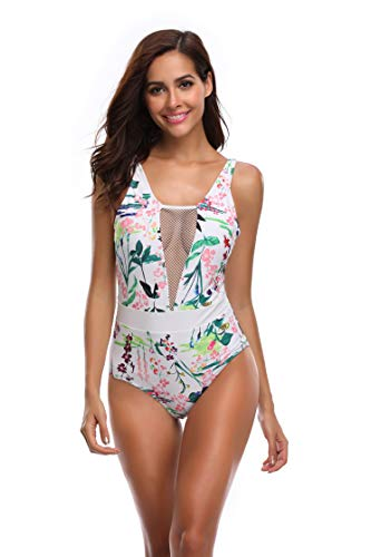 mit V-Ausschnitt, tiefer Tauch-Badeanzug für Damen, einteilig, tiefer Rücken, Blumenmuster - weiß - Small ()