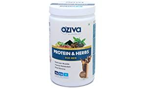 OZiva Protein & Herbs, Men, Whey Protein with Ayurvedic Herbs & Multivitamins (Chocolate, 17 Servings)
