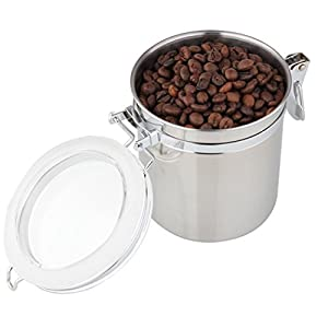 FUNRUI Boîte à Café Hermétique, Coffee Vault en Acier Inoxydable Pour Café en Grains, Café Moulu, Thé, Noix et Sucre, 900 ml