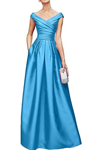 Gorgeous Bride Elegant Lang V-Ausschnitte Empire Satin Cocktailkleid Partykleid Festkleid Blau