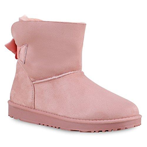 Warm Gefütterte Boots Damen Stiefeletten Schleifen Bommel Kunstfell Schlupfstiefel Schlupfstiefeletten Schuhe 129637 Rosa Schleife 39 Flandell