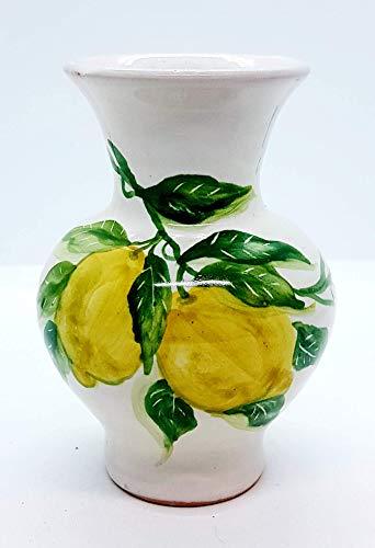 Portafiori linea limoni realizzato e dipinto a mano le ceramiche del castello nina palomba made in italy pezzo unico dimensioni: 13x10 centimetri