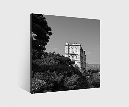 Leinwand 1 Tlg Berg Burg Mauer Ruine schwarz weiß Wandbild Bilder gerahmt 9H479 - Holz fertig gerahmt direkt von Hersteller, BxH Bild:100cmx100cm - Leinwand Burg