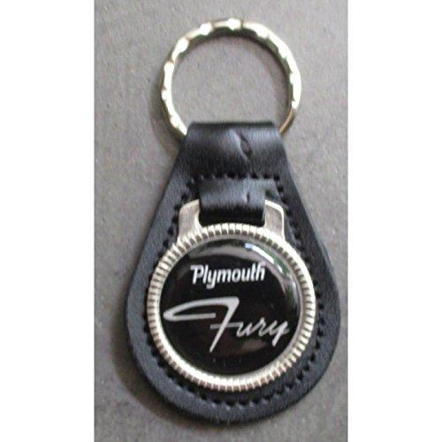 hotrodspirit - Porte clé métal Cuir Plymouth Fury Logo Noir Blanc Auto USA