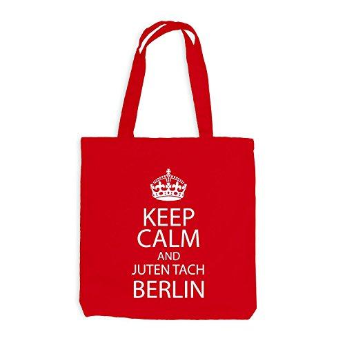Sacchetto juta - Keep Calm And Juten Tach effusore - principale città Berlino Rosso