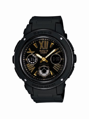 Casio BGA153-1B Women's Baby-G Shock Resist Black Ana-Digi Dial Black Resin Alarm Watch