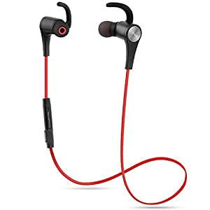 Bluetooth Headphones SoundPEATS Q12 Bluetooth Headphone 4.1 Magnetic In-Ear Wireless Sport Stereo Waterproof Headset Earbuds with Built-in Mic for Running(Red)