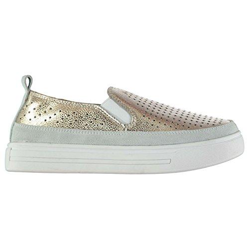 Golf Schuhe Turnschuhe (Bernie Mev Damen TW34 Slipper Turnschuhe Lochmuster Freizeit Schuhe Sneaker Gold 7)